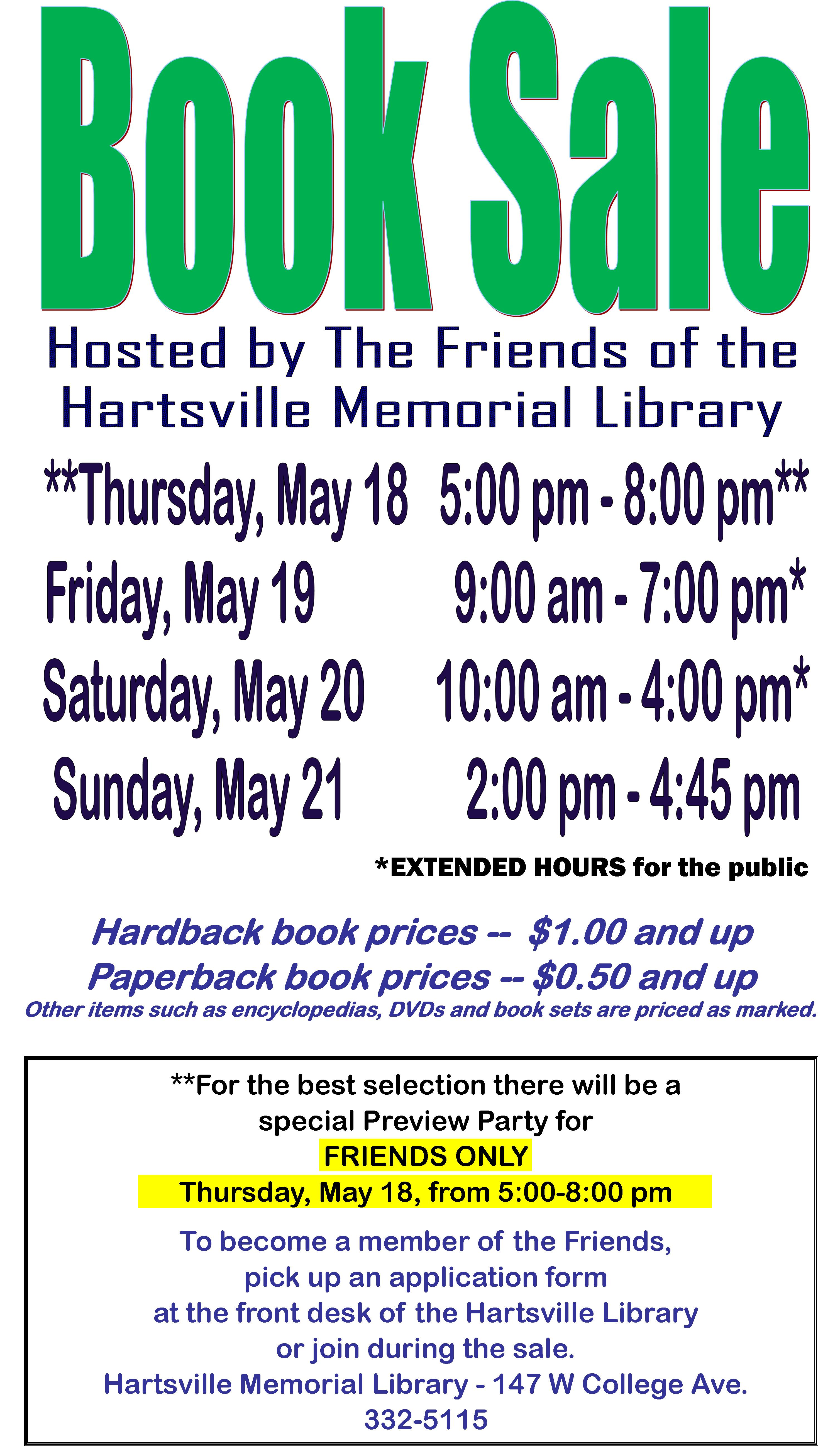 city of hartsville book sale