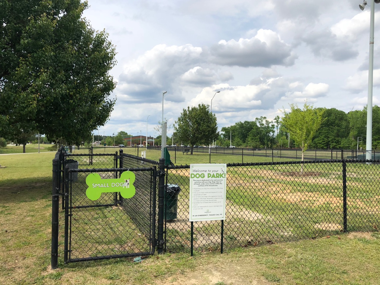The entrance to the small dog side of the City of Hartsville Dog Park.