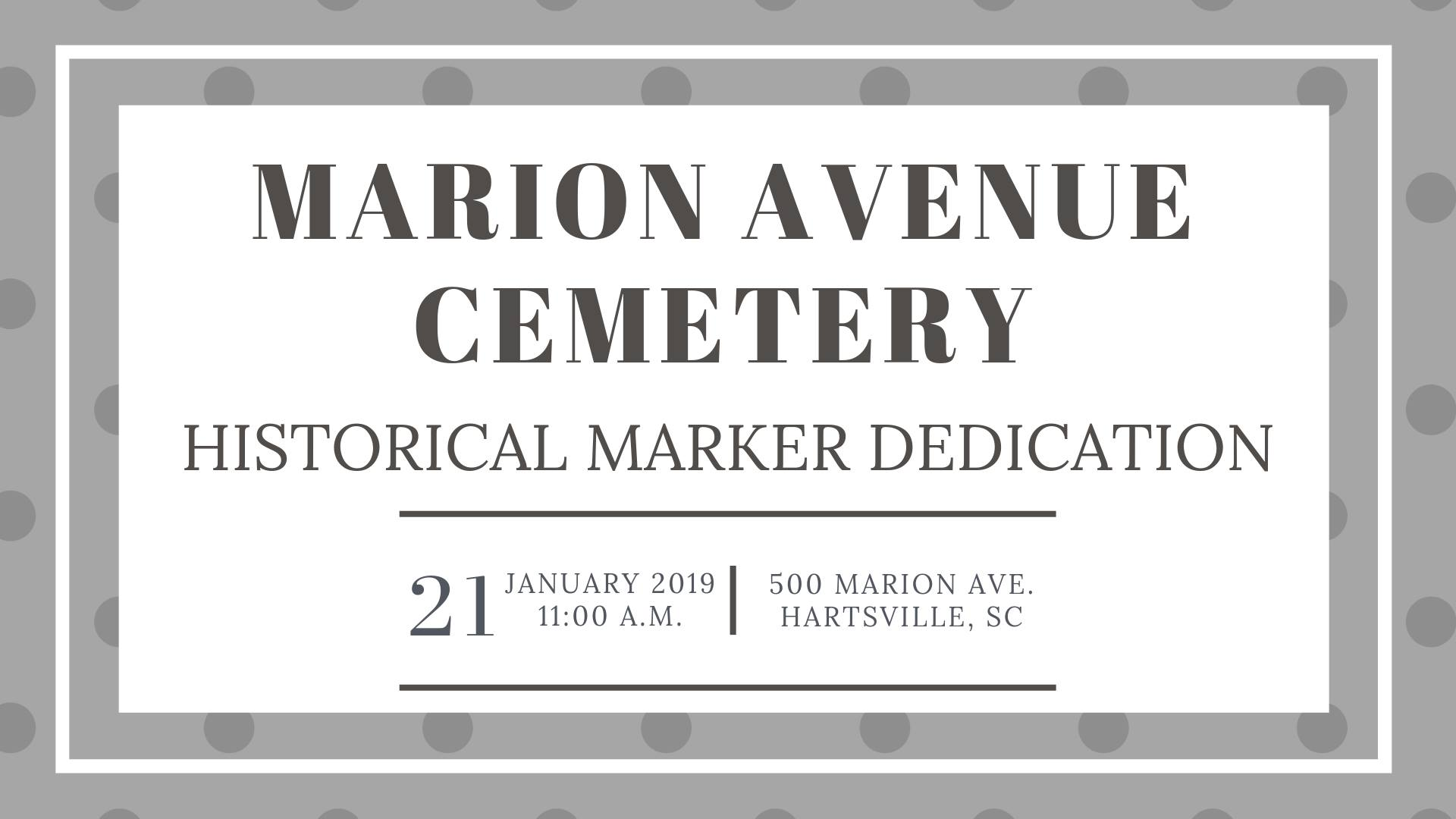 Marion Avenue Cemetery Historical Marker Dedication January 21, 2019 11am banner image