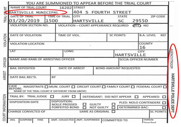 An example Hartsville Police Department ticket highlighted with the areas to be aware of.