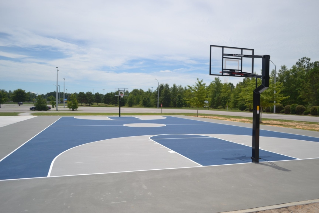 The outdoor basketball tournament beside the Coach TB Thomas Sports Center at Byerly Park.