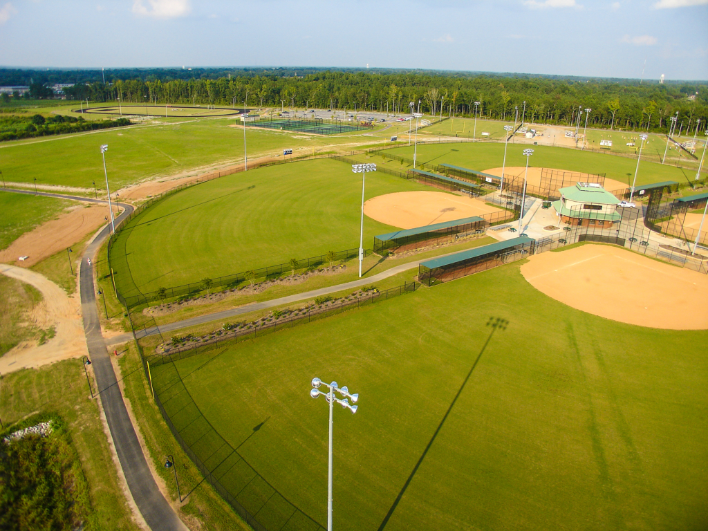 Aerial view of the baseball field at Byerly Park