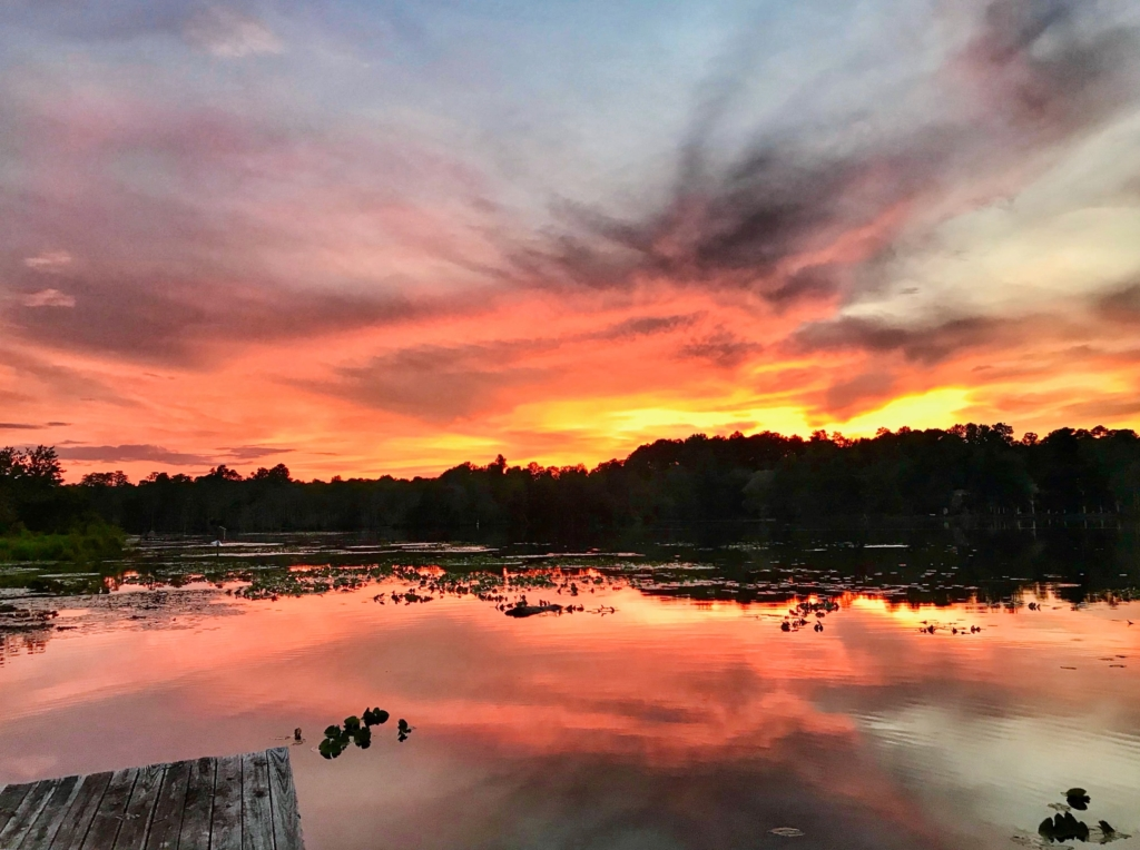 Sunset over Prestwood Lake were it meets Black Creek.
